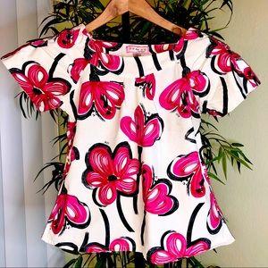 Koi Womens XS Floral Pink White Scrub Top